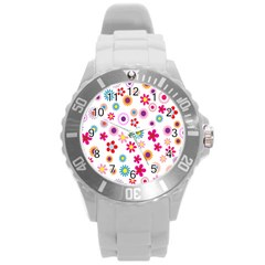 Colorful Floral Flowers Pattern Round Plastic Sport Watch (l)