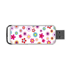 Colorful Floral Flowers Pattern Portable USB Flash (Two Sides)