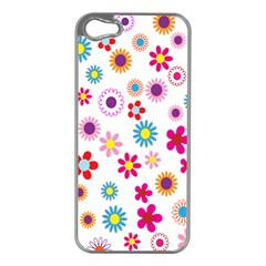 Colorful Floral Flowers Pattern Apple Iphone 5 Case (silver)