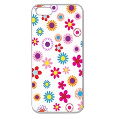 Colorful Floral Flowers Pattern Apple Seamless iPhone 5 Case (Clear)