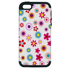 Colorful Floral Flowers Pattern Apple iPhone 5 Hardshell Case (PC+Silicone)