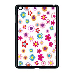 Colorful Floral Flowers Pattern Apple iPad Mini Case (Black)