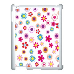 Colorful Floral Flowers Pattern Apple iPad 3/4 Case (White)