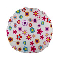 Colorful Floral Flowers Pattern Standard 15  Premium Round Cushions
