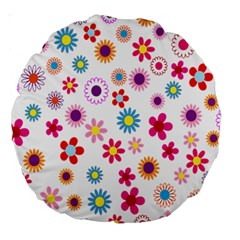 Colorful Floral Flowers Pattern Large 18  Premium Round Cushions