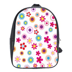 Colorful Floral Flowers Pattern School Bags (XL)