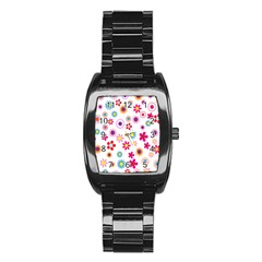 Colorful Floral Flowers Pattern Stainless Steel Barrel Watch