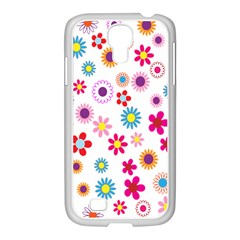 Colorful Floral Flowers Pattern Samsung Galaxy S4 I9500/ I9505 Case (white)