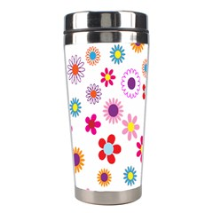 Colorful Floral Flowers Pattern Stainless Steel Travel Tumblers