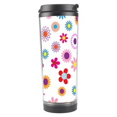 Colorful Floral Flowers Pattern Travel Tumbler