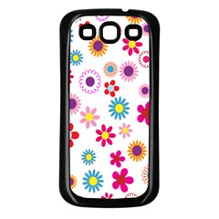 Colorful Floral Flowers Pattern Samsung Galaxy S3 Back Case (Black)