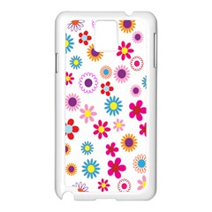 Colorful Floral Flowers Pattern Samsung Galaxy Note 3 N9005 Case (White)