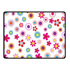 Colorful Floral Flowers Pattern Double Sided Fleece Blanket (Small)