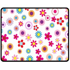 Colorful Floral Flowers Pattern Double Sided Fleece Blanket (Medium)