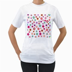 Colorful Floral Flowers Pattern Women s T-Shirt (White)