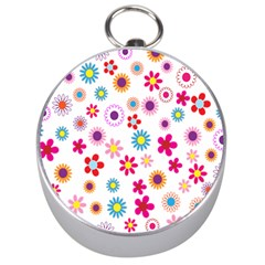 Colorful Floral Flowers Pattern Silver Compasses