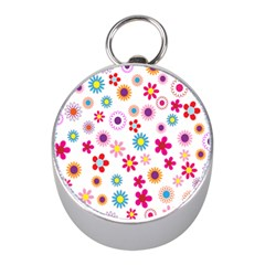 Colorful Floral Flowers Pattern Mini Silver Compasses