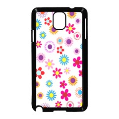 Colorful Floral Flowers Pattern Samsung Galaxy Note 3 Neo Hardshell Case (Black)