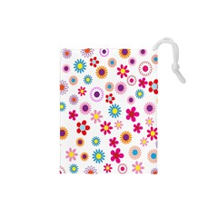 Colorful Floral Flowers Pattern Drawstring Pouches (Small)