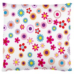 Colorful Floral Flowers Pattern Standard Flano Cushion Case (One Side)
