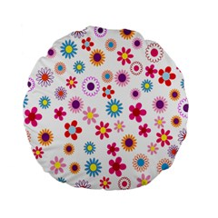 Colorful Floral Flowers Pattern Standard 15  Premium Flano Round Cushions