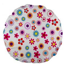 Colorful Floral Flowers Pattern Large 18  Premium Flano Round Cushions