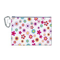 Colorful Floral Flowers Pattern Canvas Cosmetic Bag (M)