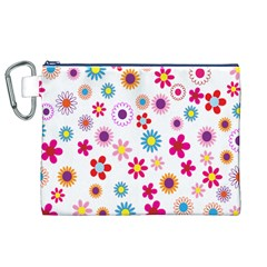 Colorful Floral Flowers Pattern Canvas Cosmetic Bag (XL)
