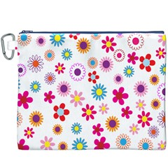 Colorful Floral Flowers Pattern Canvas Cosmetic Bag (xxxl)
