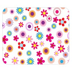 Colorful Floral Flowers Pattern Double Sided Flano Blanket (Small)