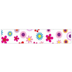 Colorful Floral Flowers Pattern Flano Scarf (Small)