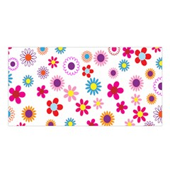 Colorful Floral Flowers Pattern Satin Shawl