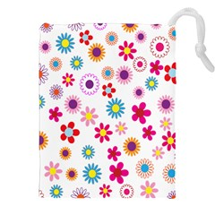 Colorful Floral Flowers Pattern Drawstring Pouches (XXL)