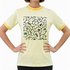 Fish Pattern Women s Fitted Ringer T Shirts