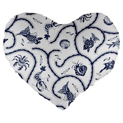 Fish Pattern Large 19  Premium Heart Shape Cushions