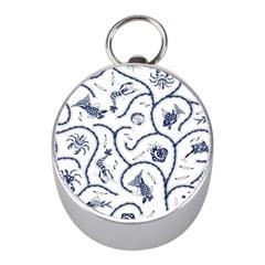 Fish Pattern Mini Silver Compasses