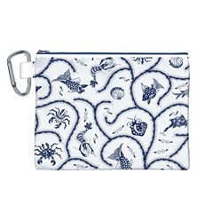Fish Pattern Canvas Cosmetic Bag (L)