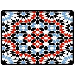 Morrocan Fez Pattern Arabic Geometrical Double Sided Fleece Blanket (large)