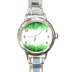 Green Floral Stripe Background Round Italian Charm Watch