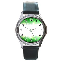 Green Floral Stripe Background Round Metal Watch