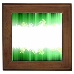 Green Floral Stripe Background Framed Tiles