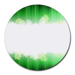 Green Floral Stripe Background Round Mousepads