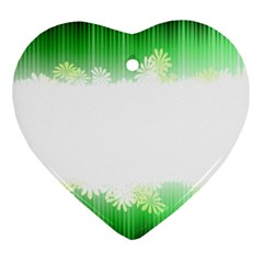 Green Floral Stripe Background Ornament (heart)