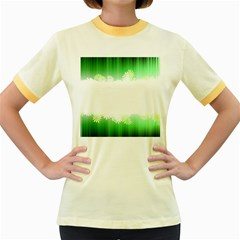 Green Floral Stripe Background Women s Fitted Ringer T Shirts