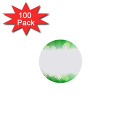 Green Floral Stripe Background 1  Mini Buttons (100 Pack)