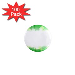 Green Floral Stripe Background 1  Mini Magnets (100 pack)