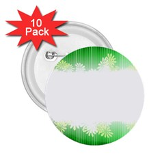 Green Floral Stripe Background 2 25  Buttons (10 Pack)