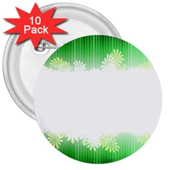 Green Floral Stripe Background 3  Buttons (10 pack)