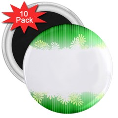 Green Floral Stripe Background 3  Magnets (10 pack)