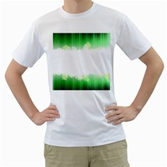 Green Floral Stripe Background Men s T-Shirt (White) (Two Sided)